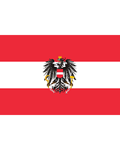 Flag: State flag of Austria; Version with a more artistic version of the coat of arms