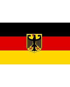 Flag: Germany  unoff   State flag with coat of arms instead of  federal shield   unofficial variant