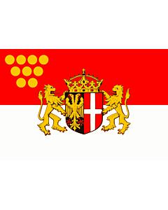 Flag: Neuss   Das Wappen der Stadt Neuss zeigt auf einem von Schwarz und Rot gespaltenen Schild im schwarzen  linken  Feld einen rot bewehrten