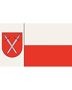 Flag: Schwerte   Beschreibung der Flagge  Der Stadt ist ferner mit Urkunde des Regierungspräsidenten in Arnsberg vom 18.02.1977 das Recht zur Führung einer Flagge verliehen worden