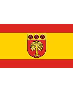 Flag: Selm   Beschreibung der Flagge  Die Flagge ist von Rot zu Gelb zu Rot im Verhältnis 1 3 1 längsgestreift mit dem Wappenschild der Stadt in der Mitte