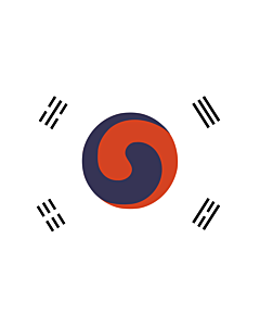 Flag: 1882 version of the flag of Korea, based on the earliest surviving depiction of the flag, published in a U