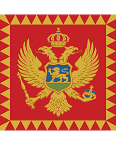 Flag: Standard of the President of Montenegro  on land